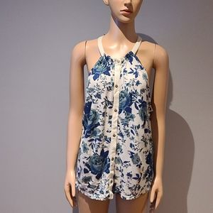 Lucky Brand tank top in ivory with blue floral L
